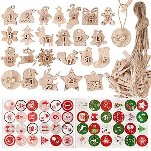 24PCS Calendriers Étiquettes Pendentif de Noël en Bois + 48