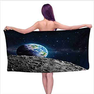 Onefzc Beach Chair Towel Galaxy View of Earth from Moon Surface Lunar Satellite Spacewatch Tracking Project for Family Guest Bathrooms Gym W40 x L20 Grey Dark Blue