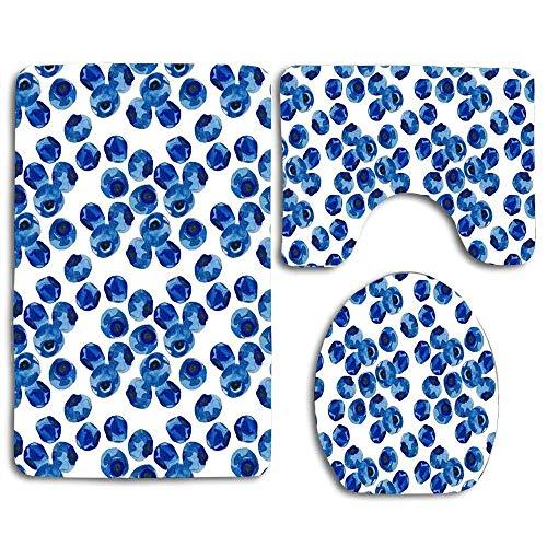 Tapis de bain antidérapant 3 pièces doux Wtercolor Blueberry Set Tapis de salle de bain lavable + Tapis de contour + Housse de siège de toilette, Tapis de sol pour paillassons Baignoire Décorations de