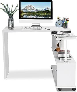Cocoarm Table d'ordinateur rotative à 360 degrés, Table de Travail Bureau d'angle réglable en Forme de L avec 4 Roues pour...
