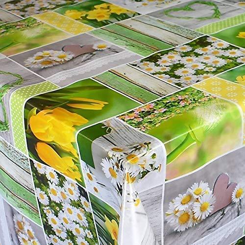 KEVKUS Wachstuch Tischdecke Osterglocke Narzissen Frühling Patchwork B6004-01 (140 x 200 cm eckig)
