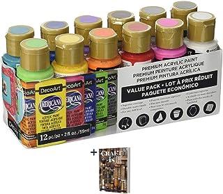 DecoArt Americana Acrylic Paint - 12 Ct Basic Assorted Acrylic Paints Value Pack - Medium Viscosity Water Based Multi Surf...