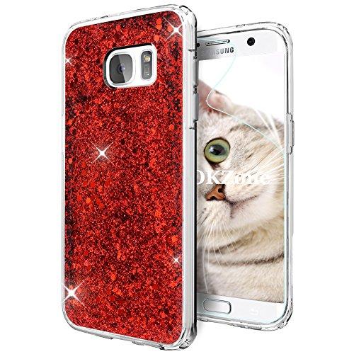 OKZone Cover Samsung Galaxy S7 Edge, Custodia Lucciante con Brillantini Glitters Ultra Sottile Designer Case Cover per Samsung Galaxy S7 Edge (Rosso)