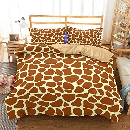 ZXXFR Duvet Cover Set Printed Geometric brown,Bedding Quilt Cover Soft Breathable for Girls Boys 3 Pieces (1 Duvet Cover + 2 Pillow cases)-UK Double 200x200CM