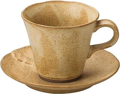 山下工芸 カップ_ソーサー 陶器 φ9×7.5cm(210cc) カヤメ赤ベージュコーヒー碗と受皿 15051440