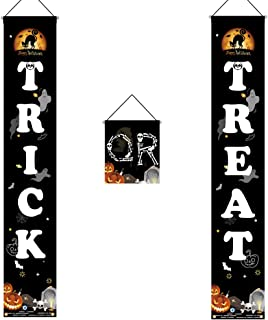 Halloween Decorations Outdoor-Trick or Treat Banner Halloween Hanging Sign for Front Door Indoor Display, Gate, Garden, Ho...