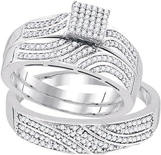 مجموعة دازلنج روك 0.40 قيراط (ctw) 10K جولة الماس الأبيض للرجال والنساء مجموعة الثلاثي خواتم الخطوبة ، الذهب الأبيض