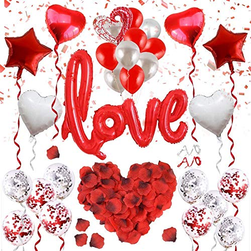 Kit Romántico de Velas, Pétalos de Rosa + Globos de Amor Rojos + Globos de Corazón + Globos de Papel de Aluminio + Globos de Látex Conjunto de Decoración Romántica, para El Día de San Valentín
