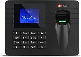 Richer-R 2.4in TFT LCD Screen Fingerprint Time Clock Recorder Employee Attendance Machine 100-240V Suitable for the entrances and exits of office, factory, hotel, school, etc.(Black)