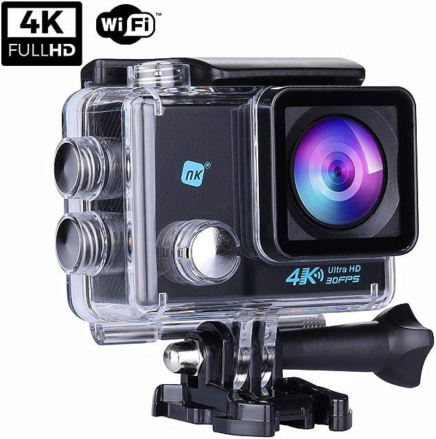 NK NK-AC3061 - Cámara Deportiva Subacuática 4K (Ultra-Alta Definición) HD 16MP WiFi Carcasa Impermeable 30M 170º Gran Angular Sensor Ultra-Avanzado Toshiba 900mAh HDMI USB Negro