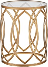 Madison Park Arlo Accent Tables For Living Room, Glass Top Hollow Round, Small Metal Frame Geometric Eyelet Pattern Luxe Modern Stylish Nightstand Bedroom Furniture, Gold