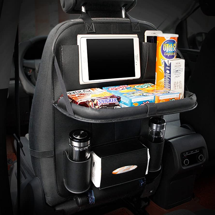 YOANKU Car Backseat Organizer with Table Tray for Baby Kids (Black)