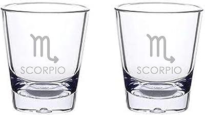 Alankathy Mugs Zodiac Signs Shot Glass set of 2 Aries Leo Cancer Pisces Scorpio Taurus Sagittarius Gemini Virgo Libra Capricorn Aquarius (SCORPIIO)
