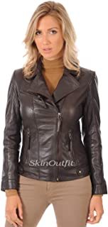 SKINOUTFIT Womens Leather Jackets Motorcycle Bomber Biker Genuine Lambskin 43