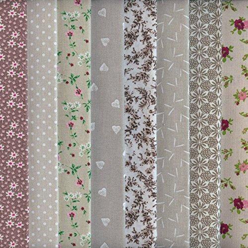 Textiles français Stoffpak - Set de Telas - 8 Telas (marrón, Beige y Gris) - colección de Telas de coordinación (pequeños diseños)   100% algodón   Cada Pieza 35 cm x 50 cm
