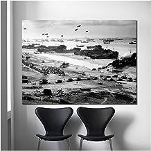 Aterrizaje de Normandía de la Segunda Guerra Mundial Avión Blanco y negro Lienzo de arte Cartel Pintura Imagen de la pared Imprimir Decoración moderna del dormitorio del hogar-50x80cm Sin marco