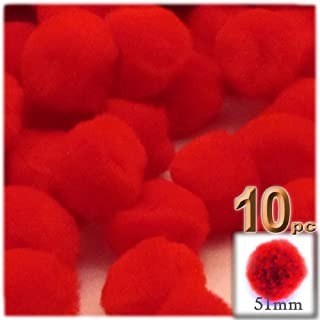 The Crafts Outlet 10-Piece Multi Purpose Pom Poms, Acrylic, 51mm/About 2.0-inch, Round, Red