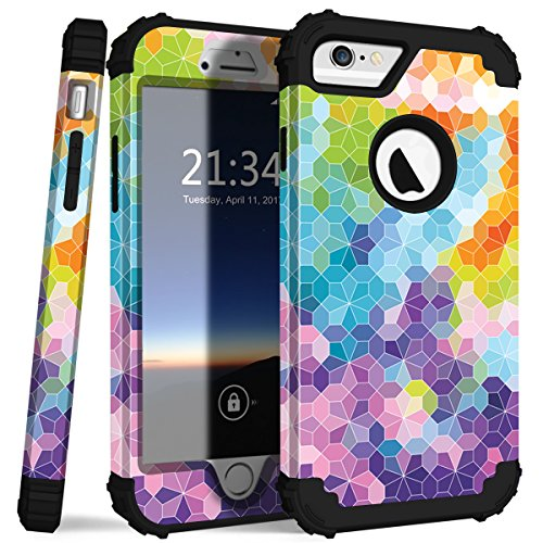 PIXIU for iPhone 6 Case,for iPhone 6s case Unique Hybrid Heavy Duty Shockproof Full Body Protective Case with Dual Layer Cases for Apple iPhone 6 6s 4.7inch Colorful