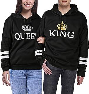 ESHOO Couples Hommes Femme Sweat /à Capuche Imprim/é Couronne King/& Queen Manches Longues Hooded Sweatshirt Pull Tops