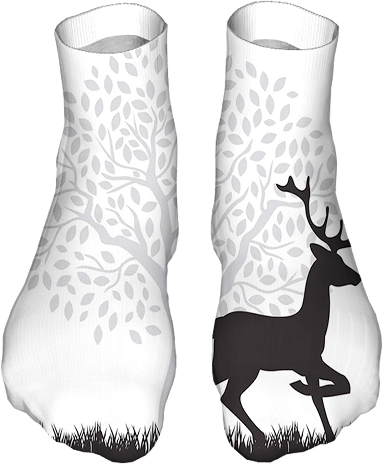 Women's Colorful Patterned Unisex Low Cut/No Show Socks,Gracious Wild Animal with Horns Tree Silhouette Pattern