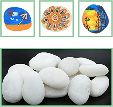 """White River Rocks for Painting – 20 Big Rocks, 2"""" - 3.5"""" Inch Flat Smooth Stones, about 6 LB. of Craft Rocks for Rock Paintin"""