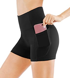 Dragon Fit High Waist Yoga Shorts for Women with 2 Side Pockets Tummy Control Running Home Workout Shorts