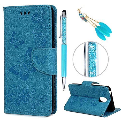 iAdvantec Wiko Lenny 5 Hülle Hülle, Filp PU Leder Wallet Handyhülle Flipcase : Bookstyle Schmetterlingsprägung Tasche Brieftasche Schutzhülle in Blau + Anti Staub Stöpsel + Stylus