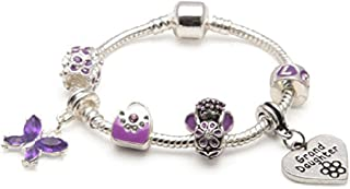 Liberty Charms Grand Daughter Childrens 'Purple Fairy Dream' Silver Plated Charm/Bead Bracelet