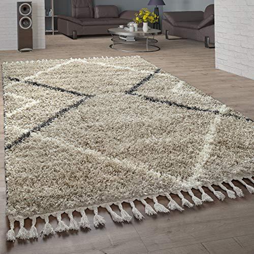 Paco Home Tapis Shaggy Salle de séjour Haute Pile de Diamants Motif skandi Design vers. Couleurs et Tailles, Dimension:160x220 cm, Couleur:Beige