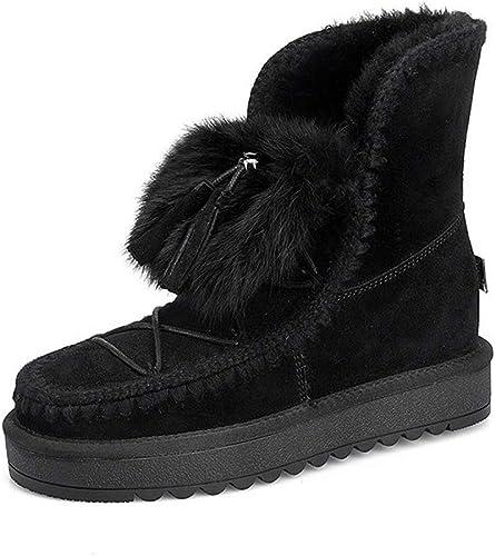 DANDANJIE Bottes De Neige Femmes Bottes d'hiver Chaud Bottines Les Les dames Chaussures Décontractées à Talons Plats avec des Chaussures à Talons Hauts en Fausse Peluche
