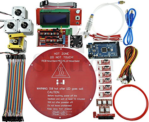 [Sintron] Kossel Mini Electronic Full Kit for DIY RepRap Rostock Delta 3D Printer with Bowden hotend+ MK8 Extruder + RAMPS 1.4 + LCD2004 + MEGA 2560 + A4988 + NEMA 17 Motor + Endstop + Round Aluminum MK3 heatbed + Filament