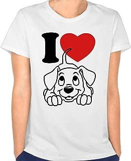 Duxa Women's I Love Dogs Art Logo Tshirt White