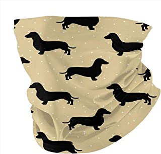 popluck Solve Grocery Short Hair Dachshund Cream Pattern Sausage Dog Rave Face Mask Headband Bandana Mouth Cover Hair Ties Neck Scarf For Men and Women
