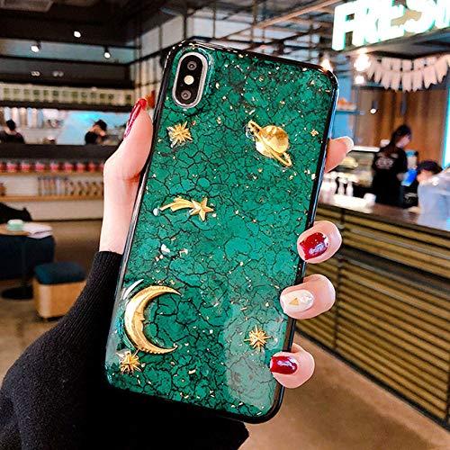 PhoneC Carcasas para móviles Marble Metal Planet Glitter Bling Funda de Silicona...