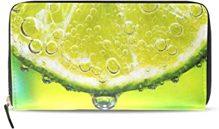 Lime Slice With Soda In Glass PU Long Wallet Coin Purse Bifold Long Purse with Zipper