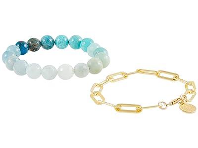Dee Berkley Aquamarine Ombre and Paperclip Chain Bracelet Stack