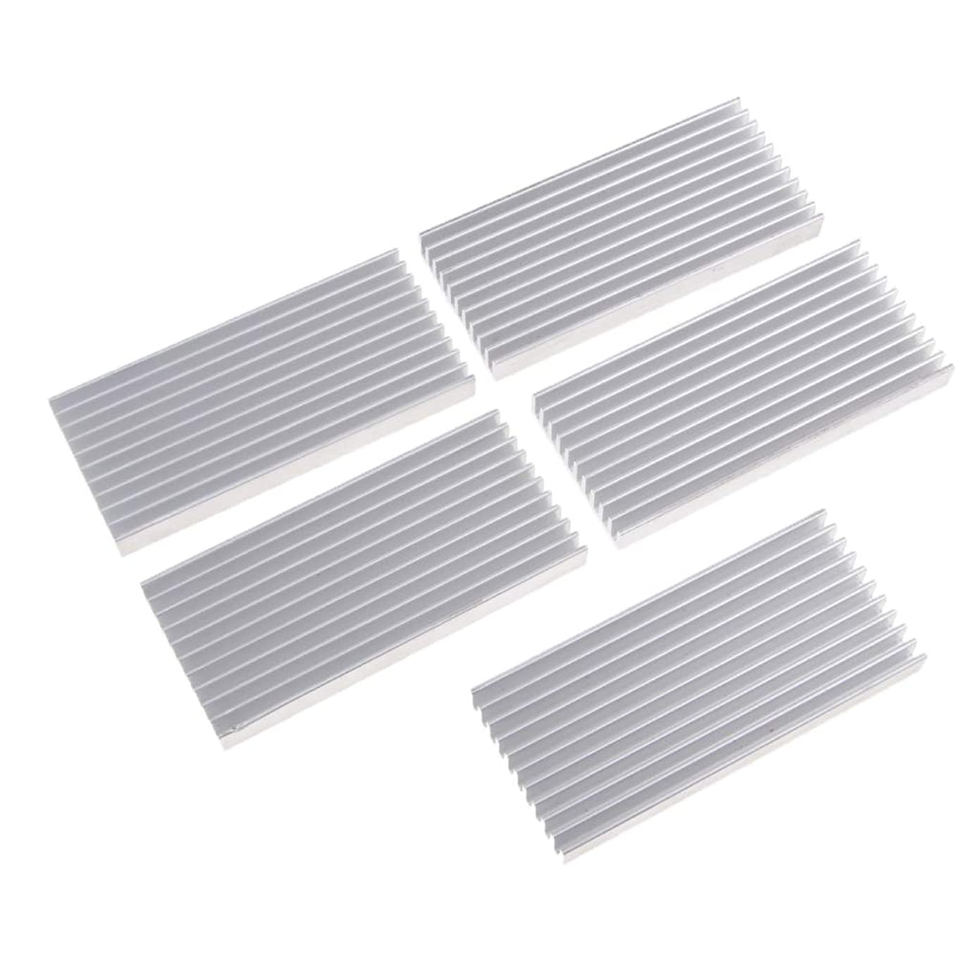 kesoto 5 Pack Aluminum Radiator Heat Sink Cooling Fin for PC CPU & LED Chip & Power Amplifier & Transistor Semiconductor Devices (1004510mm)