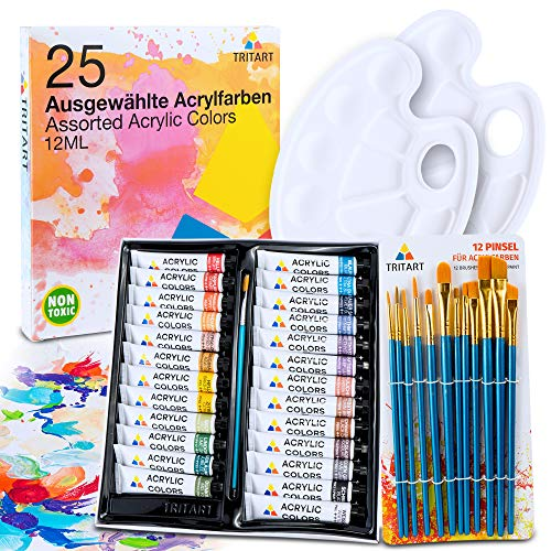 Tritart Acryl-Farben-Set HOCHWERTIG | Malfarben Tuben 25 x 12ml mit 12 Pinsel und 2 Mischpaletten | Acrylic Paint