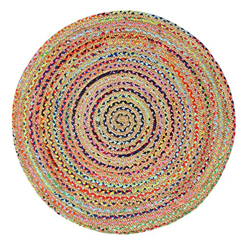 Green Decore Handgefertigte geflochtene runde Naturfaser Jute Teppich, Natur (150 cm Durchmesser, Fusion Mehrfarbig)