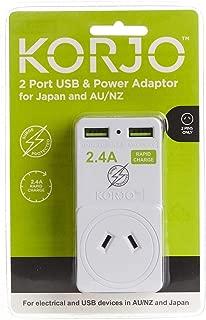 Korjo USB Power Adaptor Australia/Japan Travel Accessories