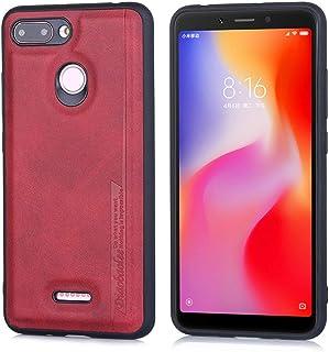 جراب EUDTH Xiaomi Redmi 6، جلد PU فاخر + غطاء خلفي واقي نحيف هجين من TPU لهاتف Xiaomi Redmi 6 - أحمر