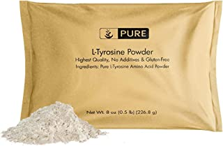 L-Tyrosine Powder (8 oz, ½ TSP per Serving) by Pure Organic Ingredients, 100% Pure, Stress & Anxiety*, Alertness & Focus*, Increase Mood & Energy*, Boost Metabolism*, Eco-Friendly Packaging