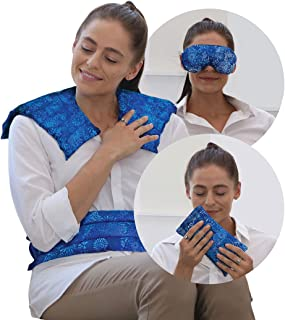 Full Treatment Set- Heating Pad/Cold Pack for Neck, Shoulder, Back, Stomach Pain Relief– Microwavable Hot and Cold Therapy...