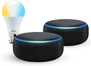 Echo Dot gift twin pack (Black) with Wipro smart white bulb