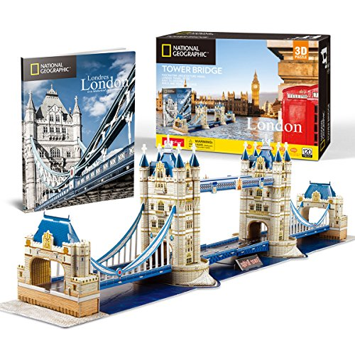 CubicFun 3D Jigsaw Puzzle for Kids National Geographic Tower Bridge 3D Puzzle Architecture Model Kit Game Toy DIY Building Model Kits Gifts for Adults and Kids, 120 Pieces