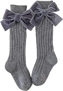 ZSooner, ZSooner Calcetines transpirables largos con lazo, para el hogar, regalo a la rodilla, calcetines de algodón peinado, para invierno, para uniforme, mantiene el calor suave (gris)