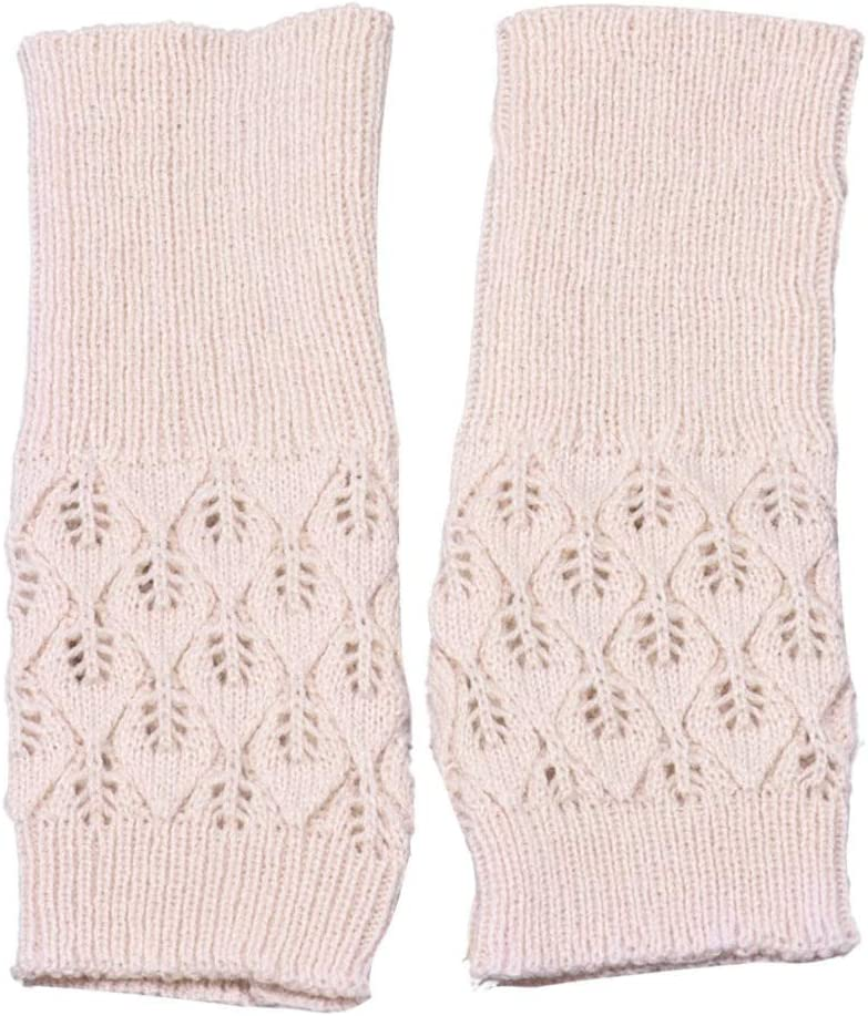 FASGION Women Autumn Winter Gloves Stretch Knit Mittens Hollow Out Leaves Knitted Gloves Sports Touch Screen Cycling Riding Mittens 2019 (Color : Beige, Gloves Size : One Size)