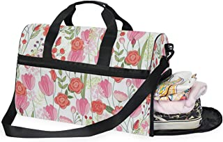 Travel Tote Luggage Weekender Duffle Bag, Flower Leafs Large Canvas shoulder bag with Shoe Compartment