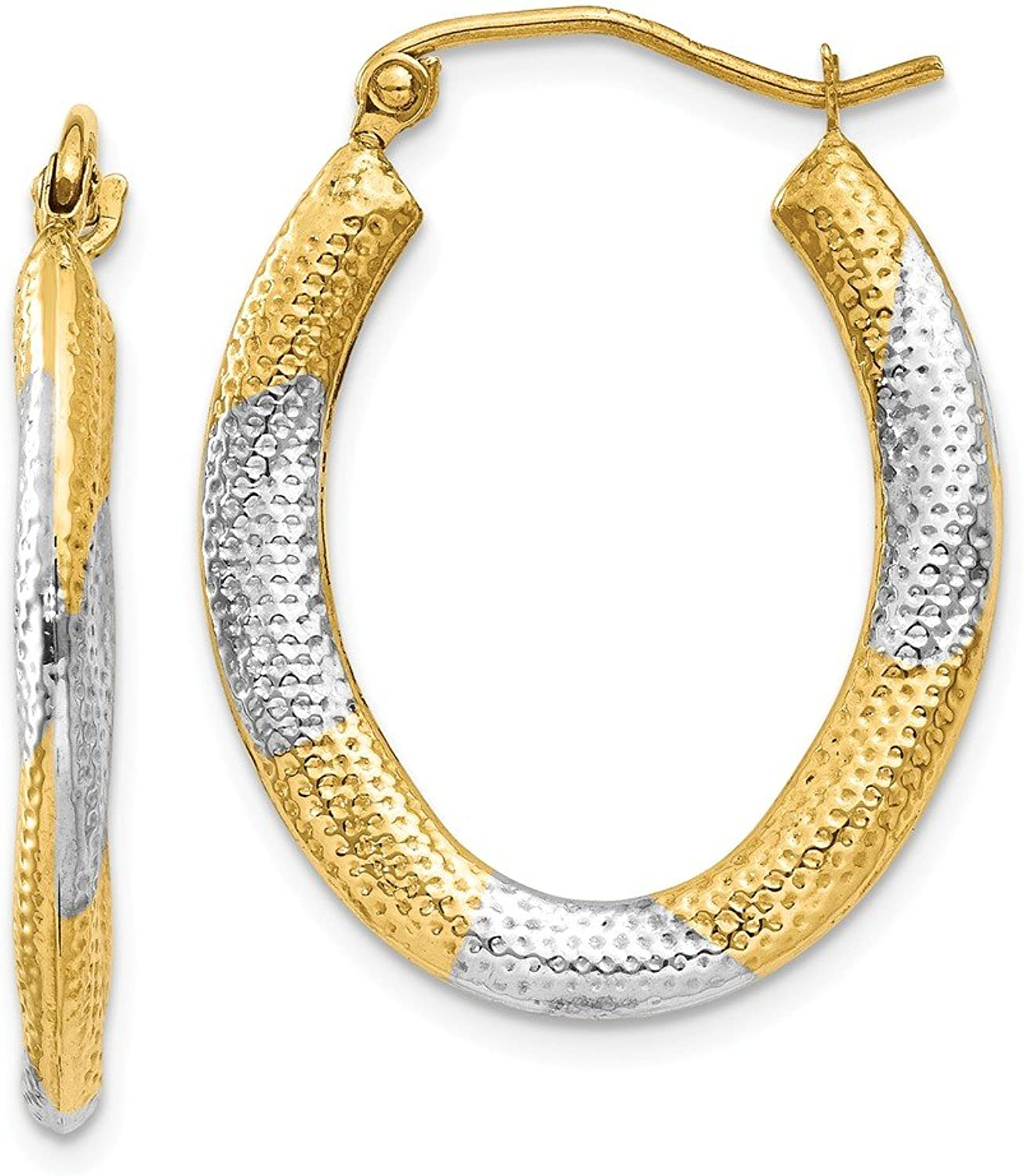 Beautiful rhodium plated gold and silver 14K 14K & Rhodium Textured Hollow Oval Hoop Earrings