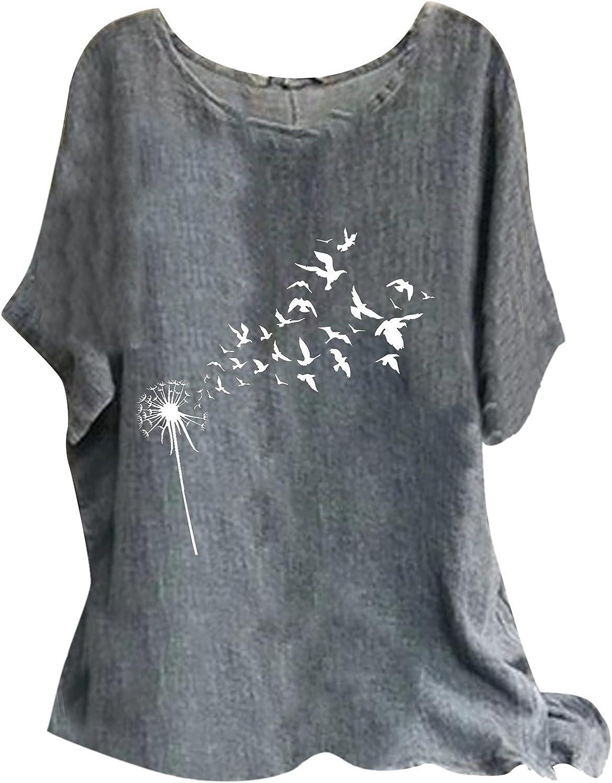 Women Cotton Linen Tshirt Tops Vintage Flower Trendy Short Sleeve Flowy Tunic Tops Summer Casual Plus Size Flowy Blouses